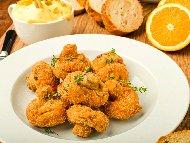 Рецепта Панирани гъби печурки в панировка от яйца, брашно и бира